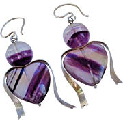 Fantastic Carved Fluorite Hearts Sterling Silver Dangle Earrings Ribbons Vintage