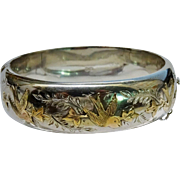 Terrific Sterling Silver 9K Rose Gold Applique Birds Bangle Hinged Aesthetic Fine Mid-Century Victorian Revival