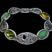 Arts & Crafts Inspired Sterling Silver Aesthetic Link Bracelet Vintage
