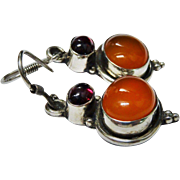 Garnet Carnelian Sterling Silver Dangle Earrings Vintage