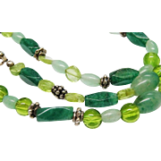 Pretty Green Gemstone Sterling Silver Bead Necklace Chunky