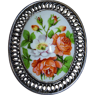 Limoges Hand Painted Pendant Brooch Sterling Silver Large Vintage