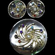 Vintage Multi-Gemstone Sterling Silver 14K Yellow Gold Pendant Earrings Set Modernist Fine