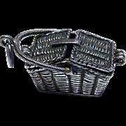 Sterling Nantucket Basket Charm Pendant Moveable Vintage