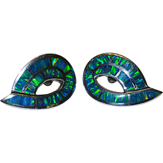 Vivid Gilson Lab Opal Sterling Silver Post Earrings Fine