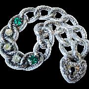 Terrific Antique Sterling Silver Emerald Paste Curb Link Bracelet Heart Padlock