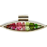 REDUCED!~Rainbow Tourmaline Sterling Pendant Modernist Fine