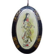 Handsome Vintage Sterling Silver Wood Pendant Hand Painted Geisha