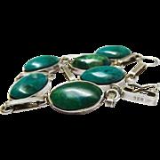 Vintage Old Pawn Turquoise Cabochon Sterling Silver Link Bracelet
