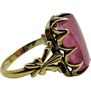 Victorian Pink Quartz 9K Yellow Gold Ring Ornate Fine Sugar-loaf