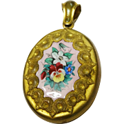 Stunning Victorian Pansy Enamel Locket Pendant Hair Memorial Large