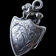 Handsome Antique Lion Sterling Silver Locket Chased Figural Shield