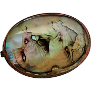 Awesome Antique Carved Mother of Pearl Brooch Three Figures Czech