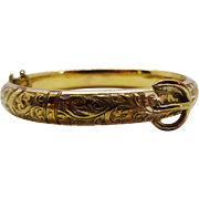 Victorian Rose Rolled Gold Chased Bangle Buckle Design