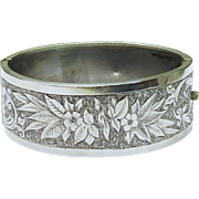 Beautiful Hand Chased Sterling Silver Bangle Bracelet Antique Victorian