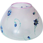 Violet Decorated Art Glass Vase Satin Hand Painted