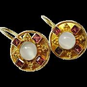 Pretty Garnet Moonstone Vermeil Sterling Drop Earrings Vintage