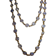 Chalcedony Sterling Vermeil Necklace Double Strand Bezel Awesome