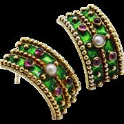 Vibrant Pink Tourmaline Cultured Pearl Green Enamel Vermeil Cuff Earrings Vintage