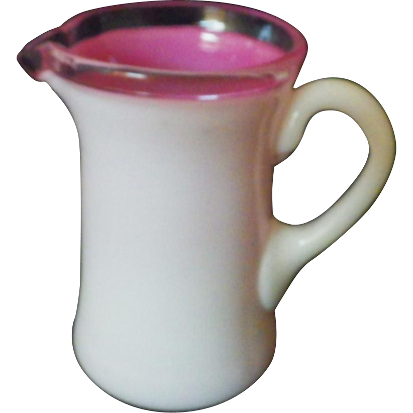 Rare Early Vintage Fenton Rose Wave Crest Glass Miniature Pitcher