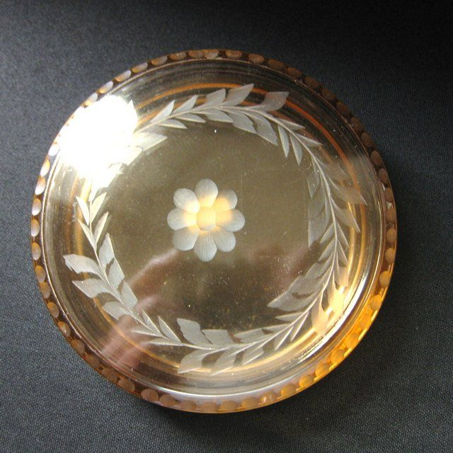Rare Vintage Fostoria Amber Glass Covered Puff Box
