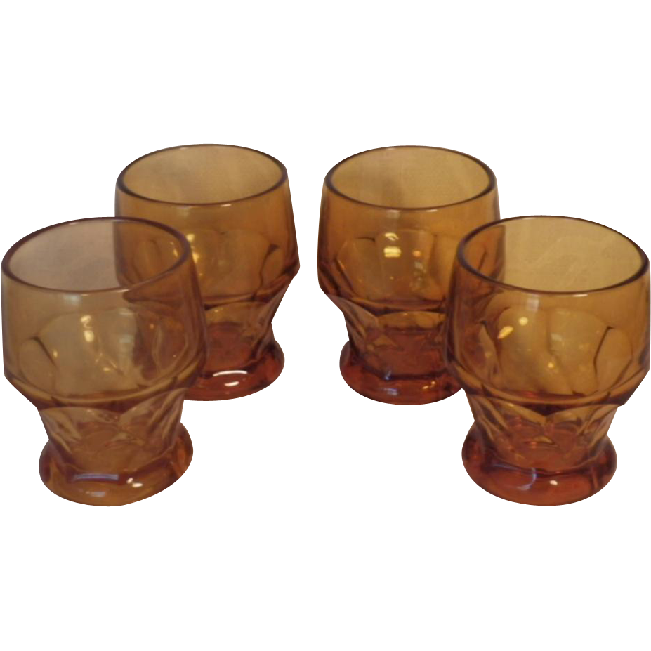 Vintage Set of Cambridge Amber Glass Georgian Tumblers