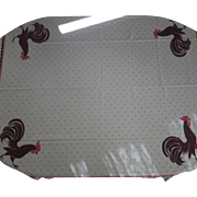 Vintage Tagged California Hand Prints Rooster Tablecloth