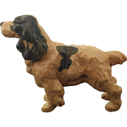 Vintage Hand Carved Wood Spaniel Dog Figure