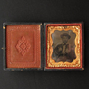 Civil War Era Union Case with Tin Type