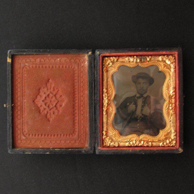 Civil War Era Papier Mache Case with Tin Type