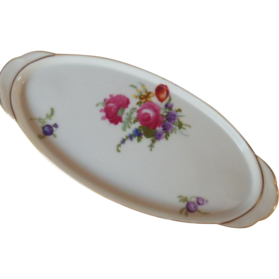 Vintage Signed Hand Painted Porcelain Vanity Tray