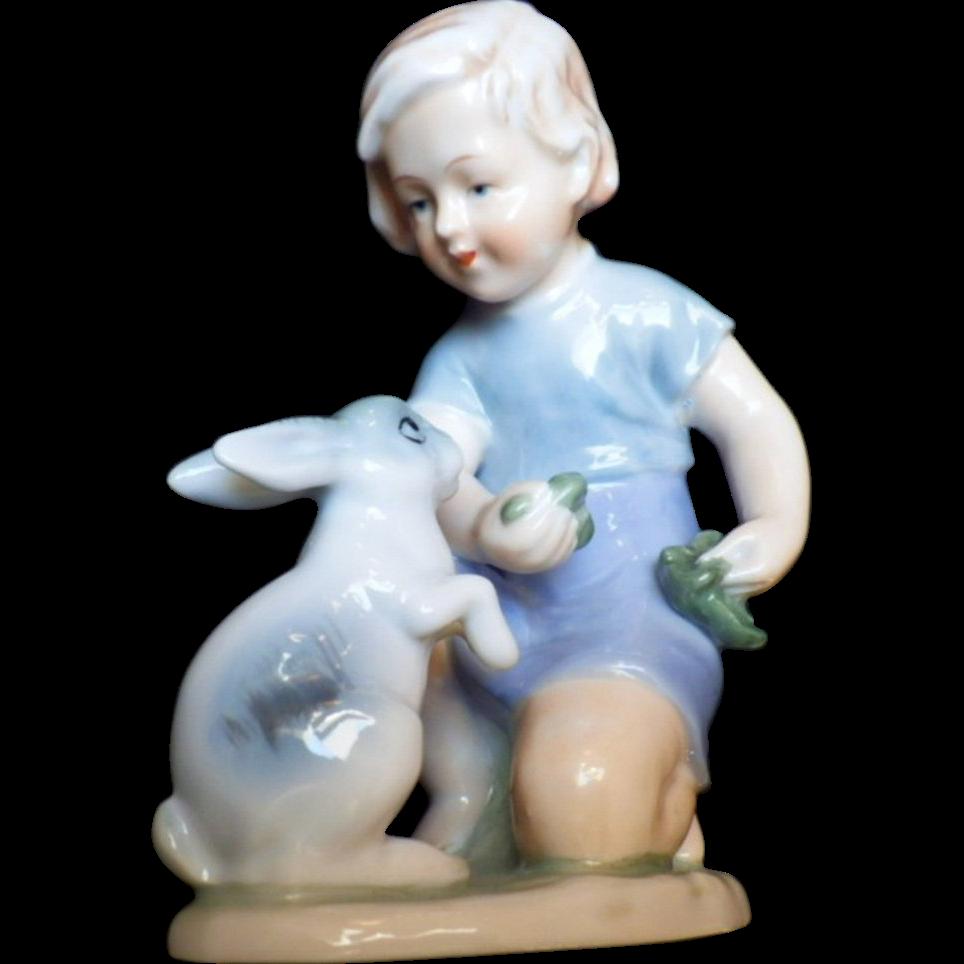 "Rare Vintage Signed ""Blue Danube"" Bone China Figurine"