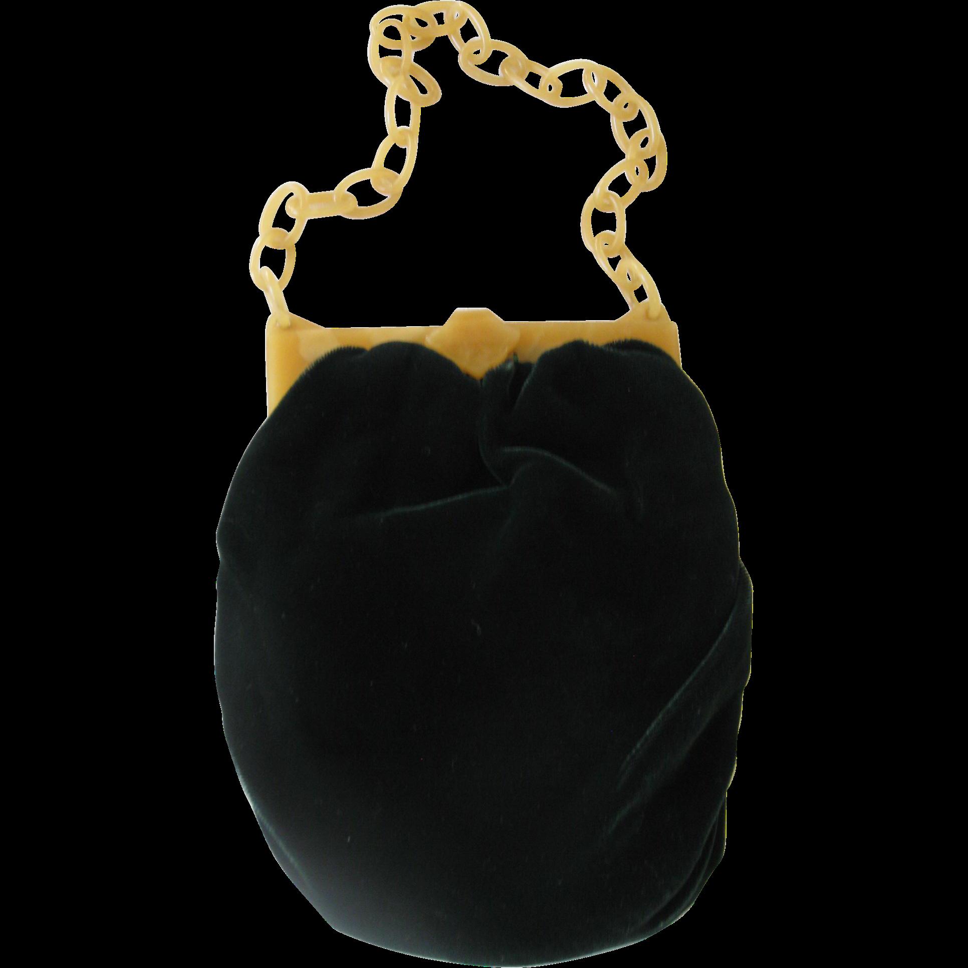 Vintage Green Velvet Handbag with Bakelite Clasp & Chain