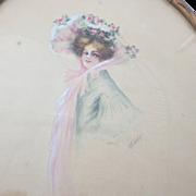 Antique Signed Framed Original Watercolor Portrait