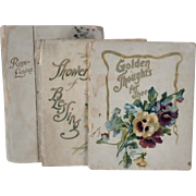 Collection of Three Antique Books of Flowers and Writings