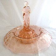 Vintage Cambridge Glass Rose Lady Flower Frog & Console Bowl