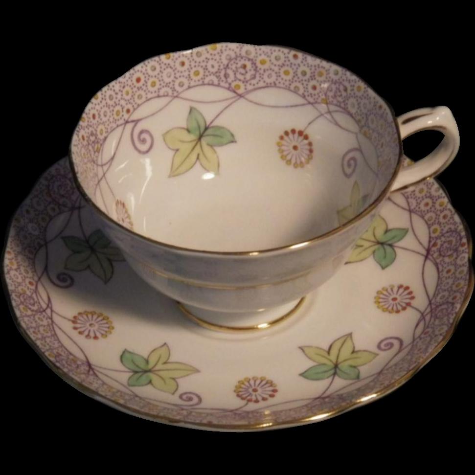 Very Rare Handpainted Copelands Grosvenor China Cup & Saucer Set