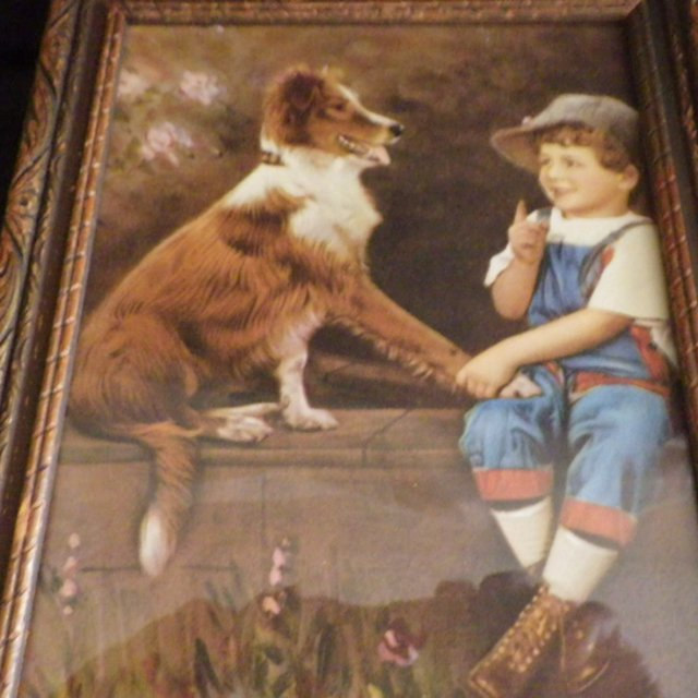 Vintage Framed Print of Boy with Collie Dog by DeForest