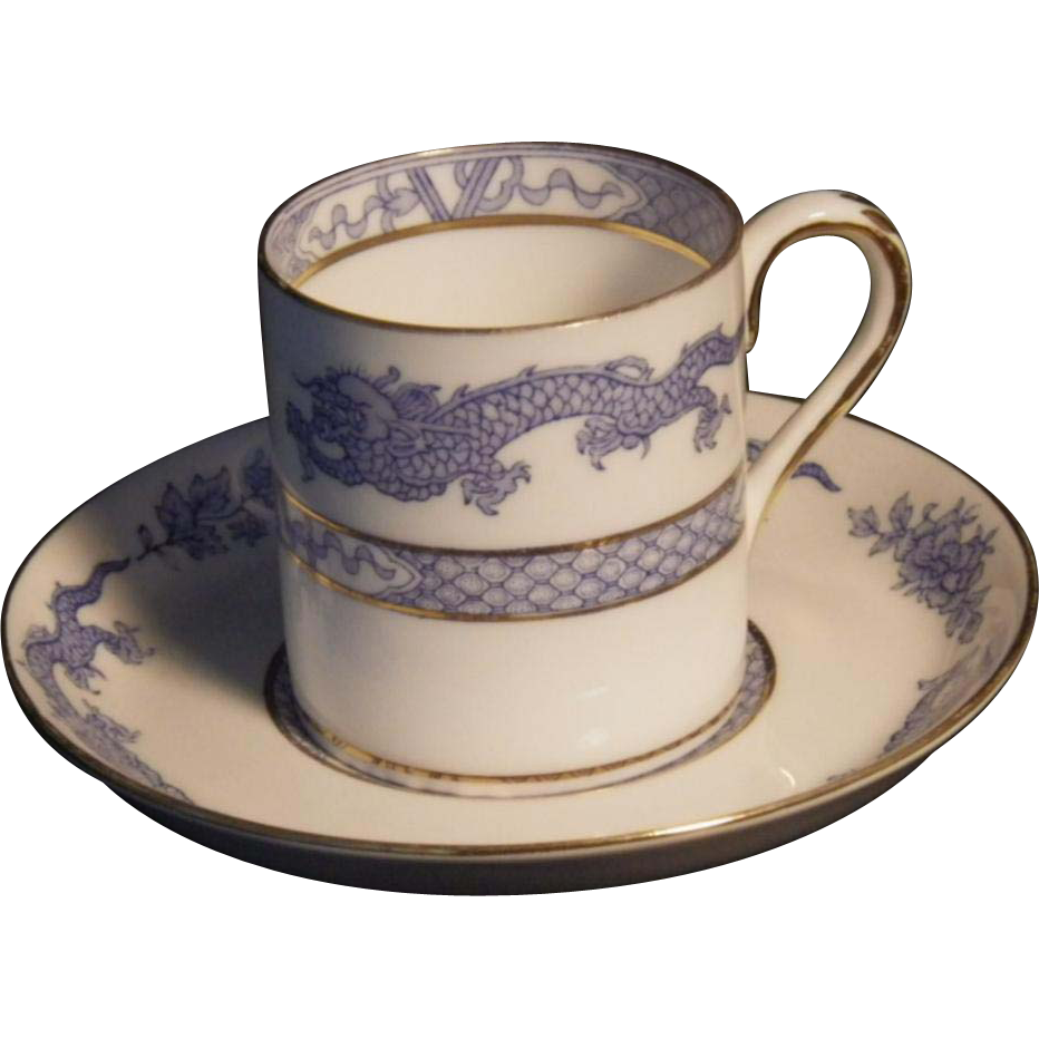 "Rare Vintage ""Blue Mandarin"" or ""Dragon"" by Crown Staffordshire Demitasse Cup & Saucer Set"