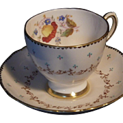 Scarce Vintage Handpainted Tuscan Bone China Cup & Saucer