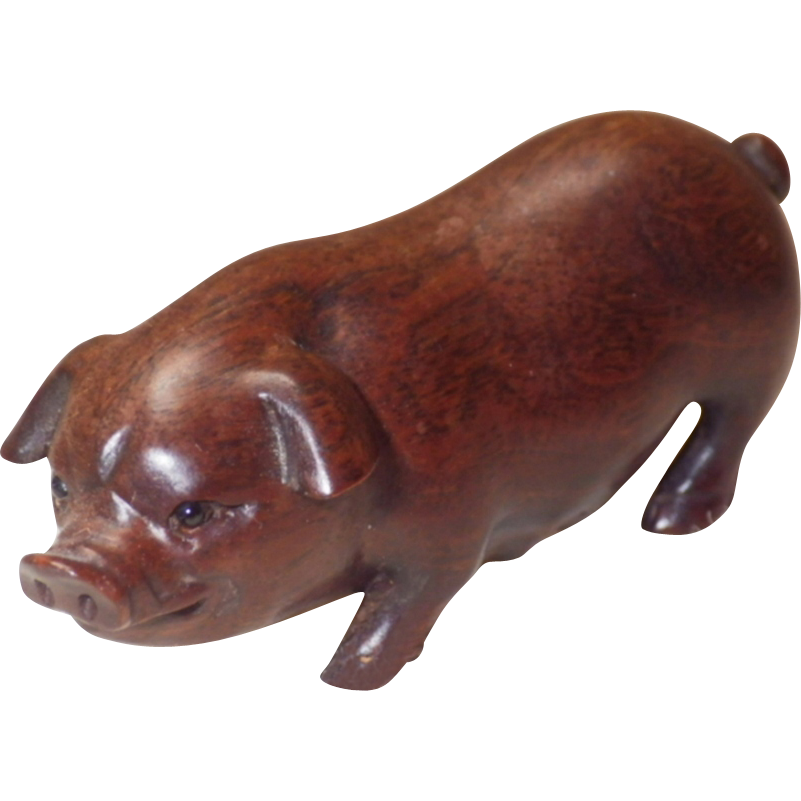 Vintage Signed Hand Carved Wood Sow Pig Netsuke