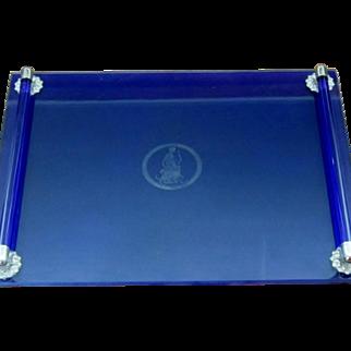Vintage Art Deco Style Cobalt Blue Glass Vanity Tray