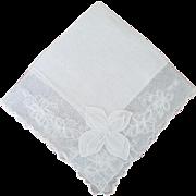 Vintage White Linen and Lace Bride Handkerchief