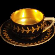Rare Vintage Rosenthal Blue & Gold Demitasse Cup & Saucer Set