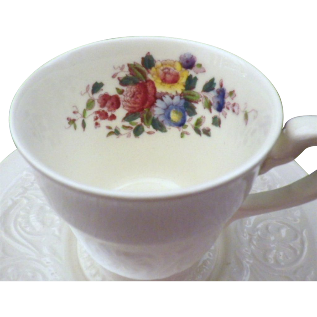 "Vintage Wedgwood Patrician with ""Swansea"" Pattern Demitasse Cup & Saucer Set"
