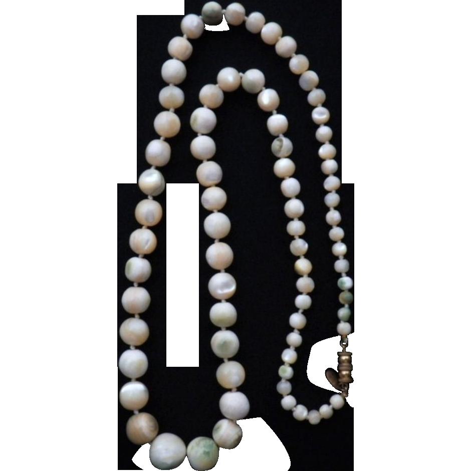 Vintage Signed Les Bernard Mother of Pearl Necklace