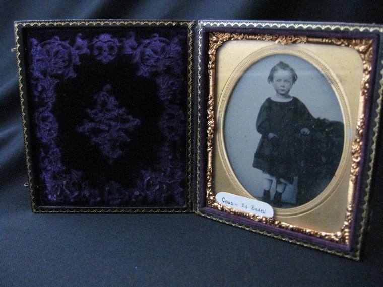Union Case Folding Picture Frame with Ambrotype Photograph