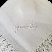 "Vintage Monogrammed ""Juanita"" Handkerchief"