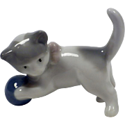 Vintage Signed Porcelain Cat Figurine