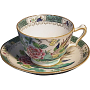 Vintage Hand Painted Crown Staffordshire Cup & Saucer